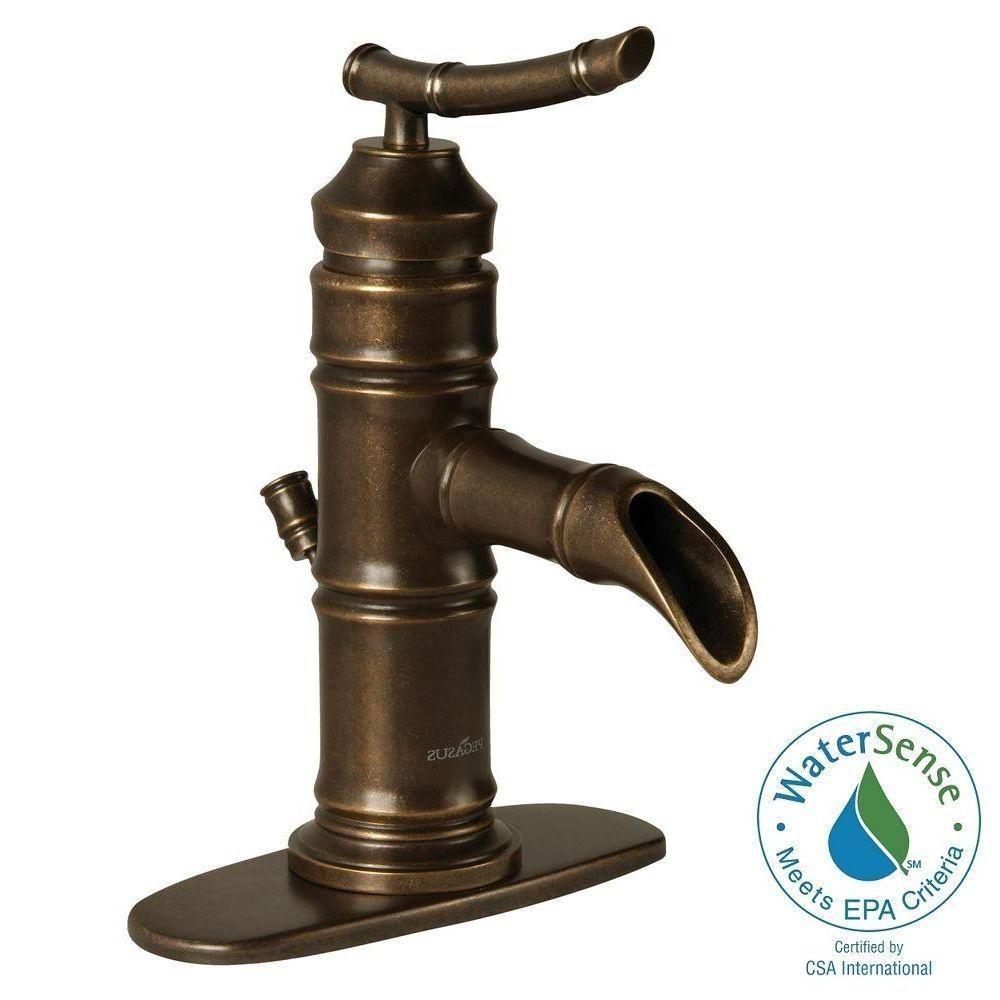 Pegasus Bamboo 4 in. Centerset 1-Handle Bathroom Faucet in Heritage ...