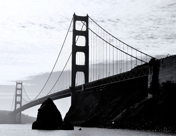 Black White San Francisco Golden Gate Bridge Photo Print