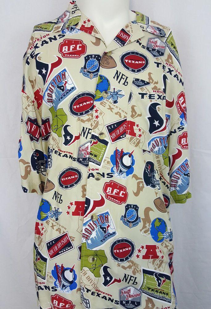 572212a7 Houston Texans Rayon Aloha Hawaiian NFL AFC Football Shirt - L Large #NFL # HoustonTexans
