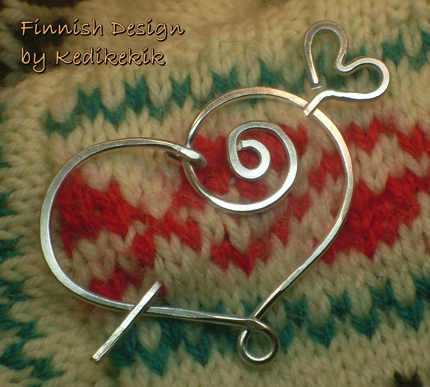 Hammered HEART BROOCH, Hair Pin or Shawl Pin For Scarf made with ...