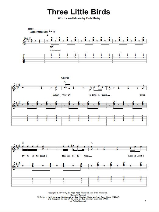 Three Little Birds Bob Marley Guitar To View And Print This Score
