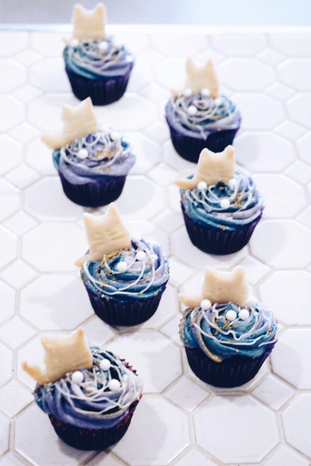 vegan Galaxy Cat cupcakes! from HalfPeach Bakery in
