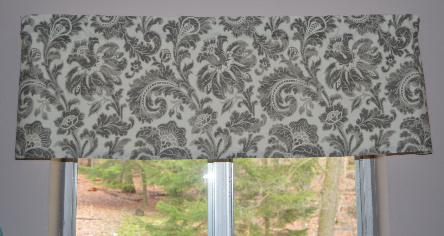Custom Valance . Millcreek Boxtree Linwood . Pewter and Ivory . Lined or Unlined . Handmade by Seams Original by SeamsOriginal on Etsy