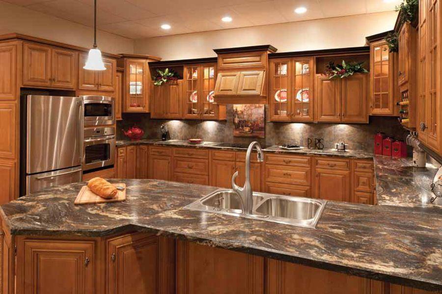 Faircrest Glazed Mocha Kitchen Cabinets | Hickory kitchen ...