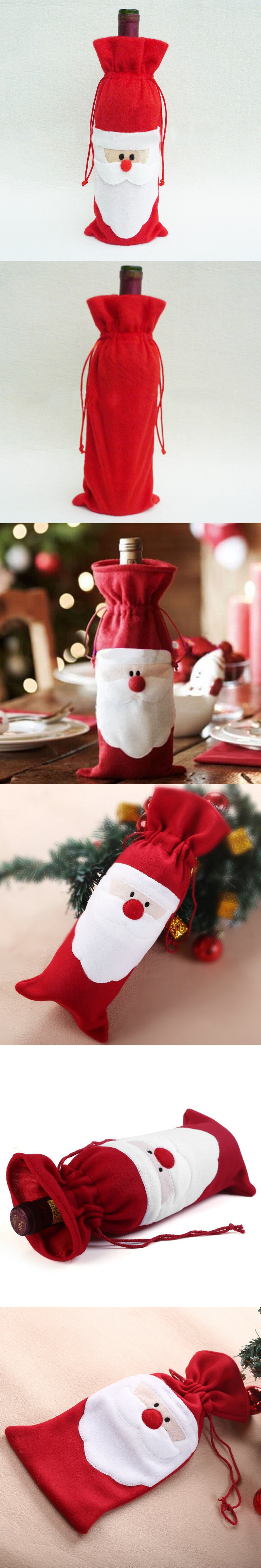 New Year 2015 Red Wine Bottle Cover Bags Christmas Dinner Table Decoration Home Party Decors Santa Claus Christmas Free Shipping