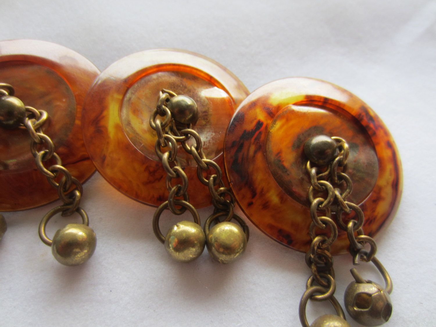 Vintage  Buttons -3 extra large matching tortoiseshell with metal chain design  (lot no dec 518) by pillowtalkswf on Etsy