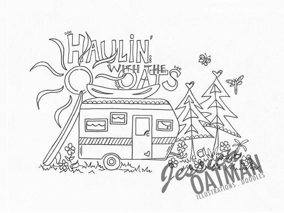 Camper Art, Coloring Pages, Vintage camper art, Camper, Personalized Art, Vintage Camper, RV, B/W art, Camper Sketch