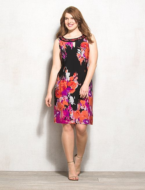 Plus Size | Dresses | Shift Dresses | Plus Size Embellished Statement Floral Dress
