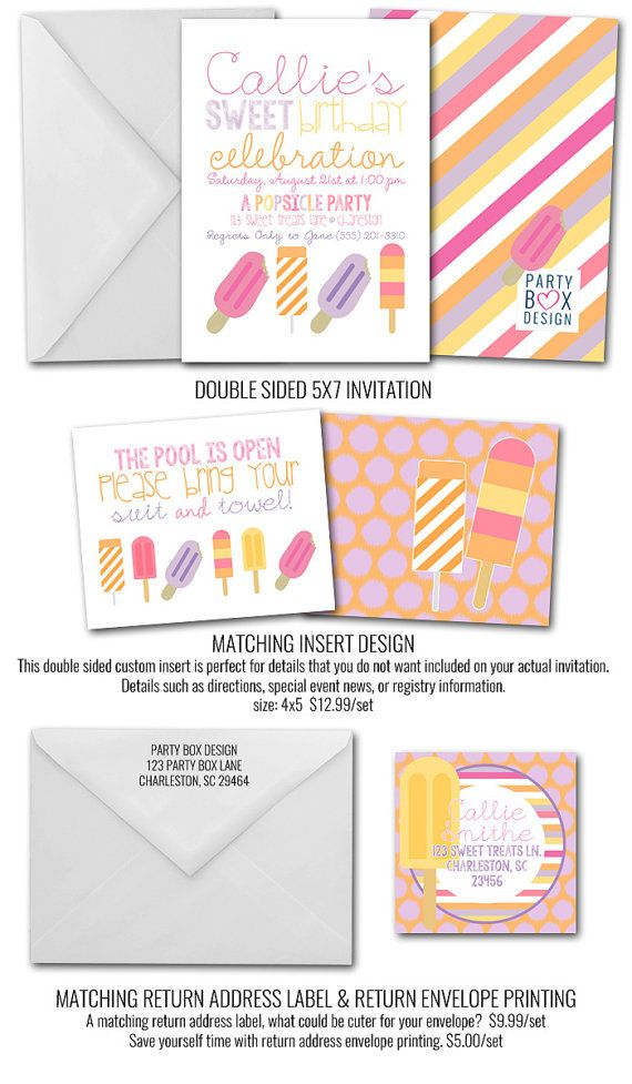 The cutest birthday party invite a popsicle party perfect for the cutest birthday party invite a popsicle party perfect for the warm weather months totally affordable great color combo patterns all stopboris Gallery