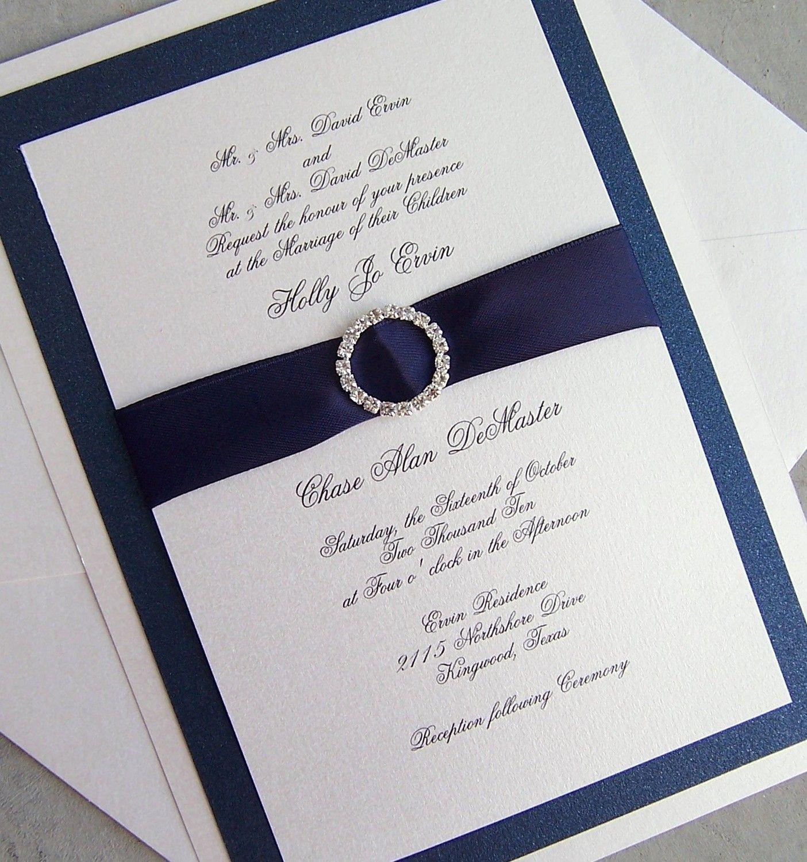 Elegant wedding invitation, rhinestone wedding invitation, navy ...