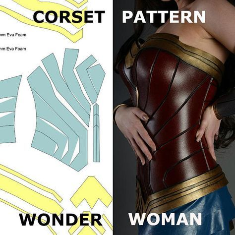 Wonder Woman Pattern Corset Template Costume Cosplay Female Armor ... b1da7bd393a5