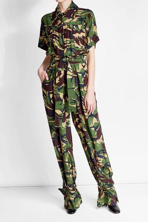 dcfc3898fce Off-White Camouflage Silk Jumpsuit