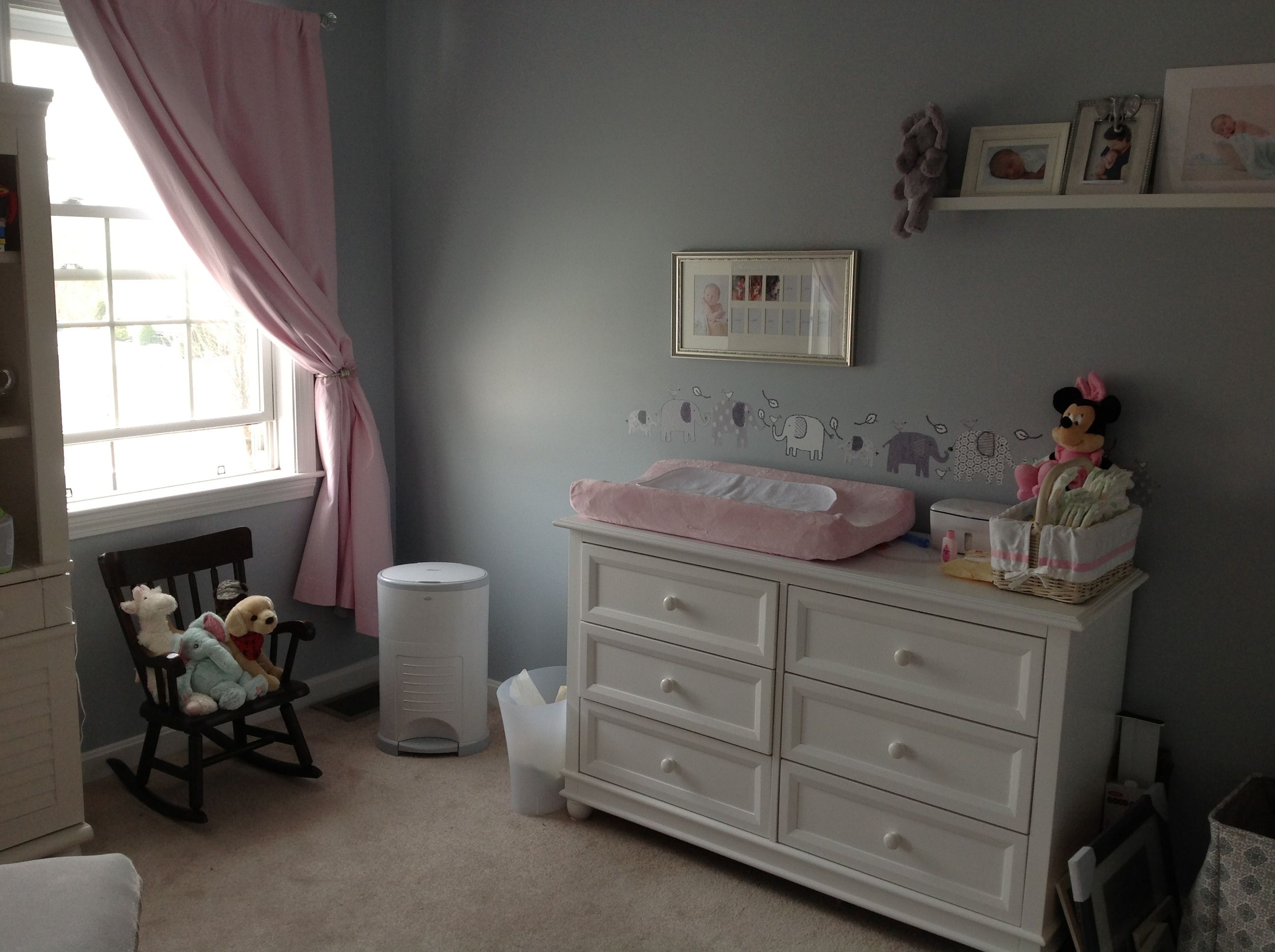 Pottery barn kids light pink baby items. Feather grey ...