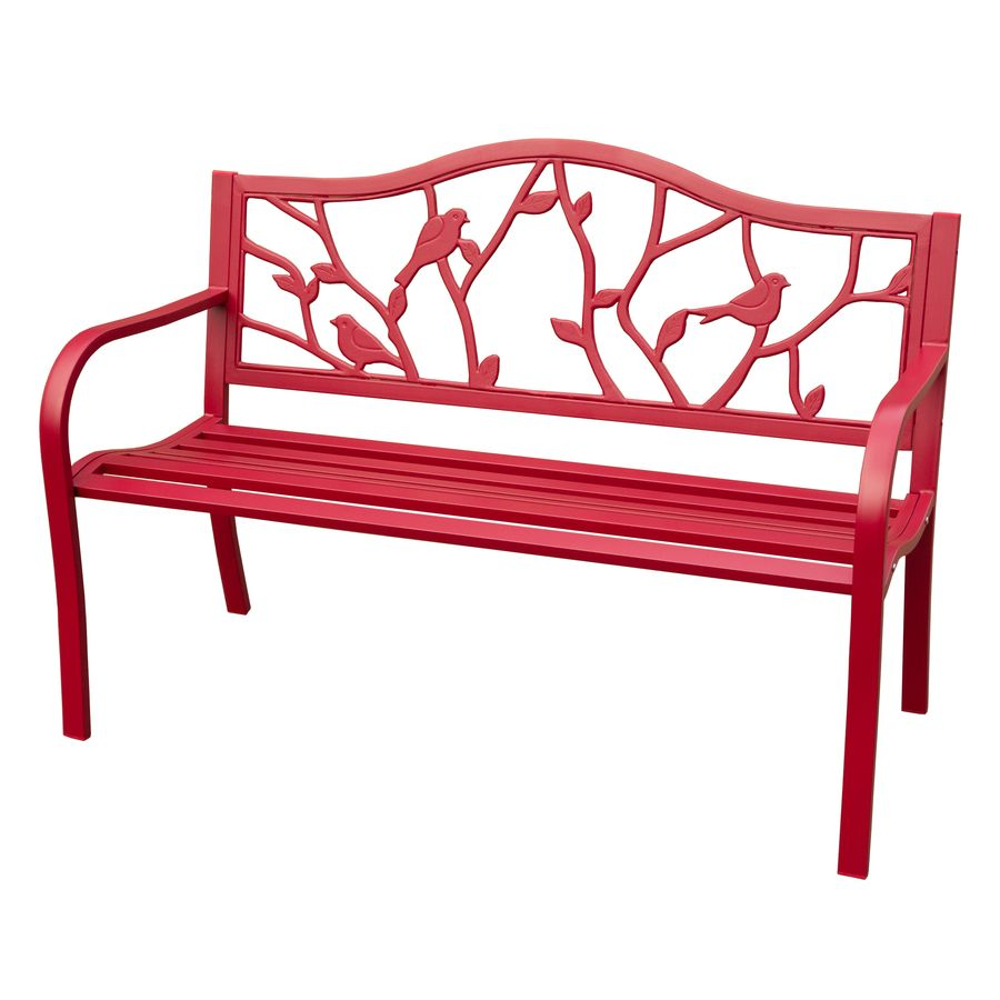 Shop Garden Treasures 50 4 In L Steel Iron Patio Bench At