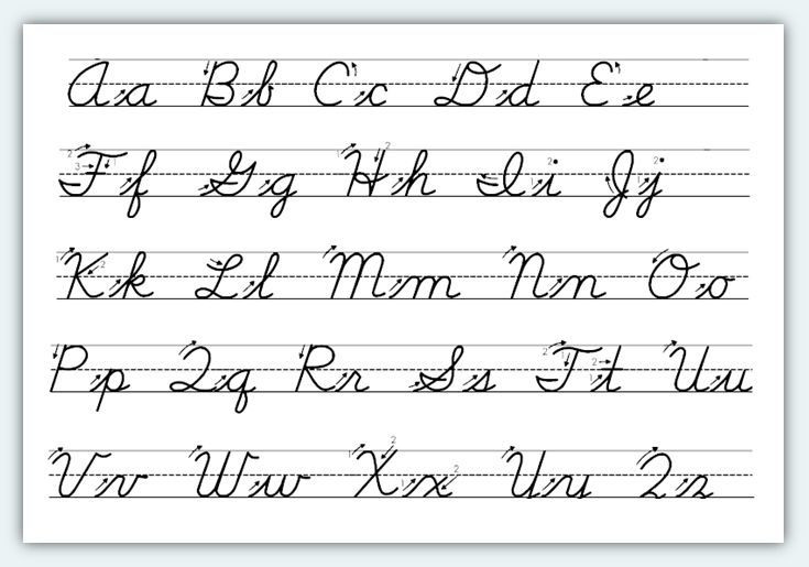 Free printable cursive alphabet worksheets 1 classroom for Script writing template for kids