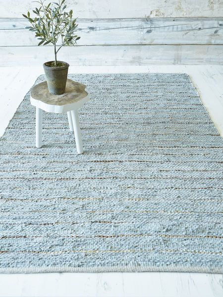 Our Woven Cotton Leather Rugs Are So Versatile They Make Themselves At Home In Duck Egg