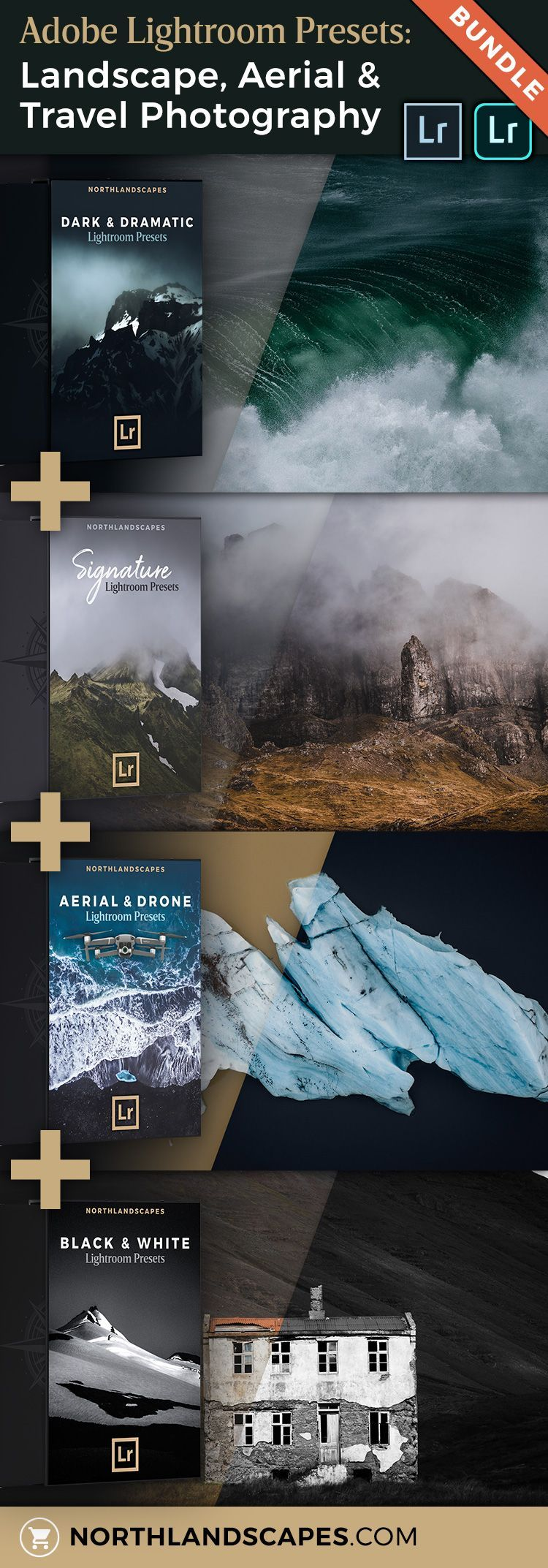 Professional Lightroom Presets Bundle for Landscape & Aerial Photography - #aerial #bundle #landscape #lightroom #photography #presets #professional - #LandscapePhotography