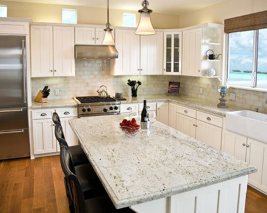 White Kitchen Light Granite kitchen backsplash with granite countertops design, pictures