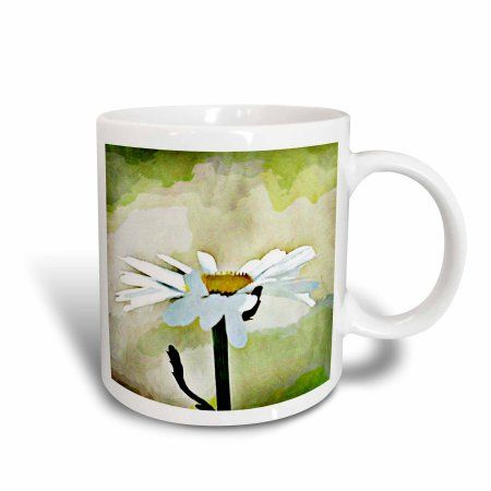 3dRose Painted Daisy - Flowers - White Floral Art, Ceramic Mug, 11-ounce