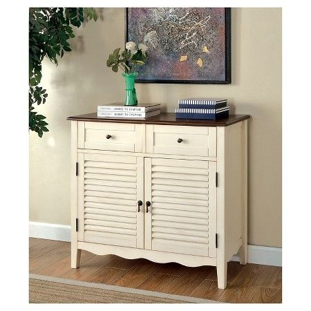 Tawnya Country Style 2 Drawer Cabinet Vintage White - Furniture of America : Target