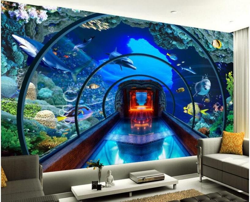 3d Underwater World Aquarium Tunnel Wallpaper Marine Life Mural