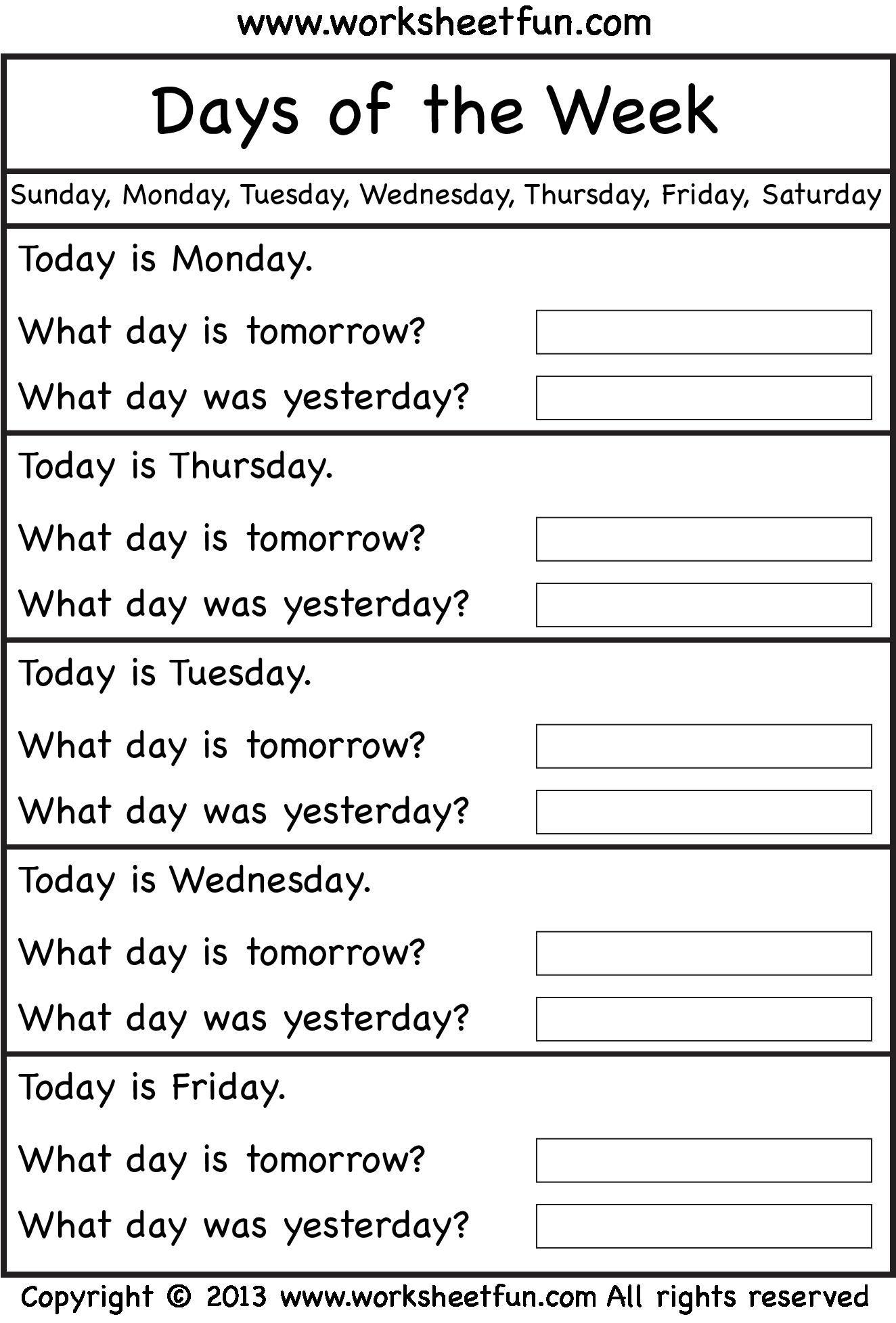 Printable Worksheets Days Of The Week In