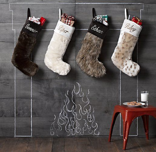stockings with chalkboard fireplace | Cozy Winter | Pinterest ...