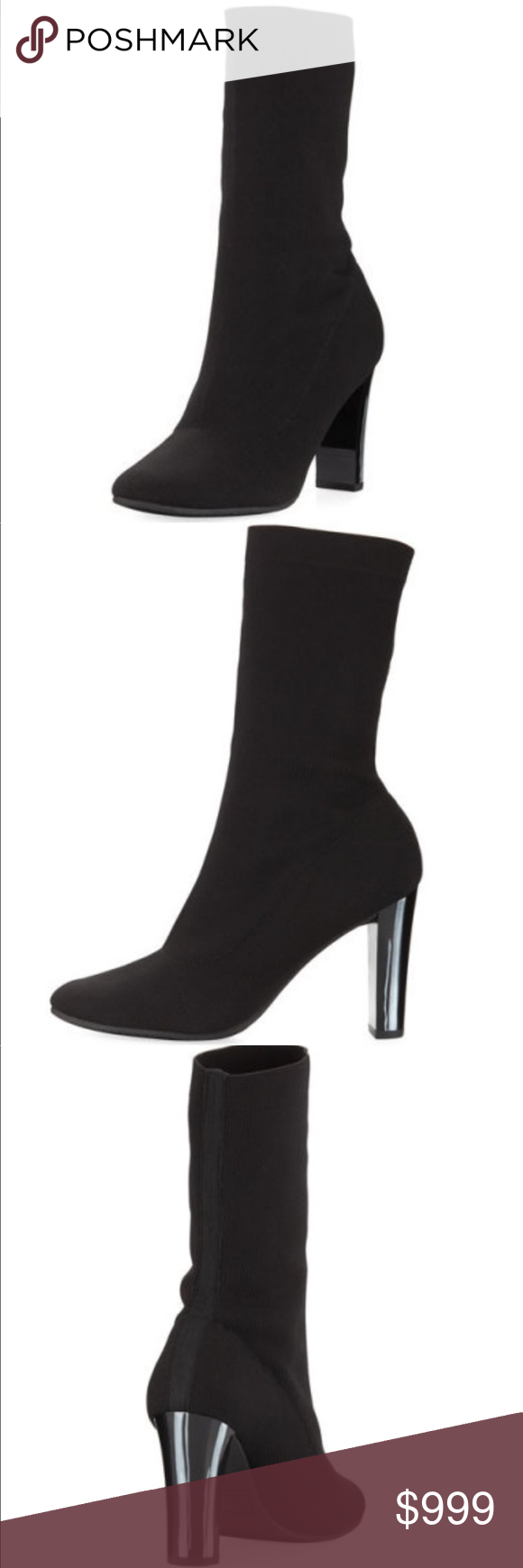 """1fe16bc68f186 🦋Joy black stretch-sock boot Beautiful and sexy black knit heeled bootie  4"""" covered patterned heel black with white stripes. 5"""" shaft. 8"""". Circ."""