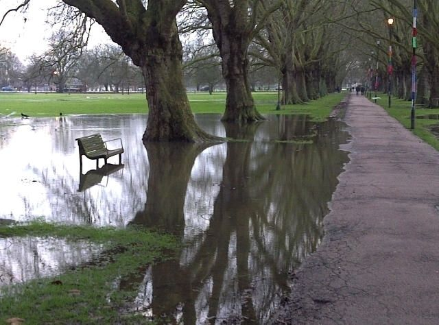 Waterlogged Jesus Green, Cambridge. With one of the biggest puddles I have seen in a long while