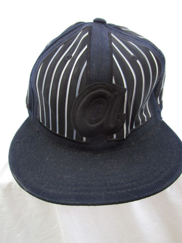 e0f6ade77b9 Atlanta Braves HAT Ball Cap Flat Brim American Needle Black   White Stripe   AmericanNeedle