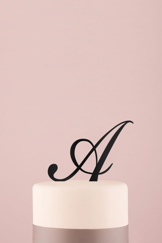 Personalized Script Monogram Acrylic Cake Topper - Black