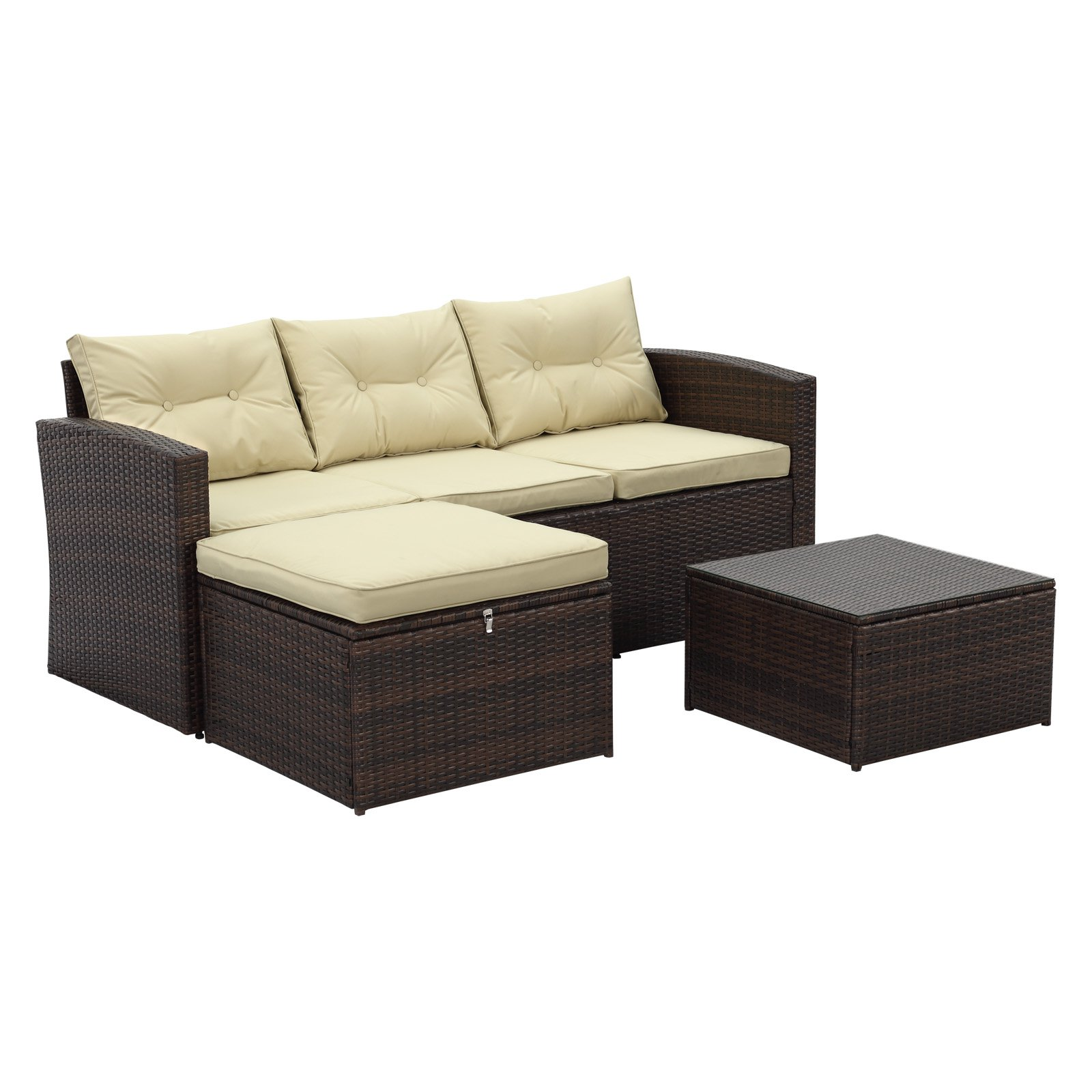 Fabulous Outdoor Incadozo Rio Wicker All Weather 3 Piece Patio Pdpeps Interior Chair Design Pdpepsorg