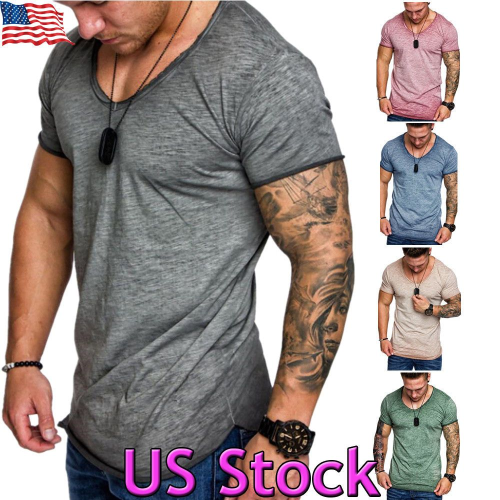 13cdc91ea87bd Fashion Men s Slim Fit V Neck Long Sleeve Muscle Tee T-shirts Casual Tops  Blouse