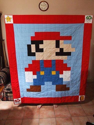 Mario Quilt The Mario Quilt I Designed For My Boyfriend Fo Flickr Mario Quilt Quilts Pixel Quilting