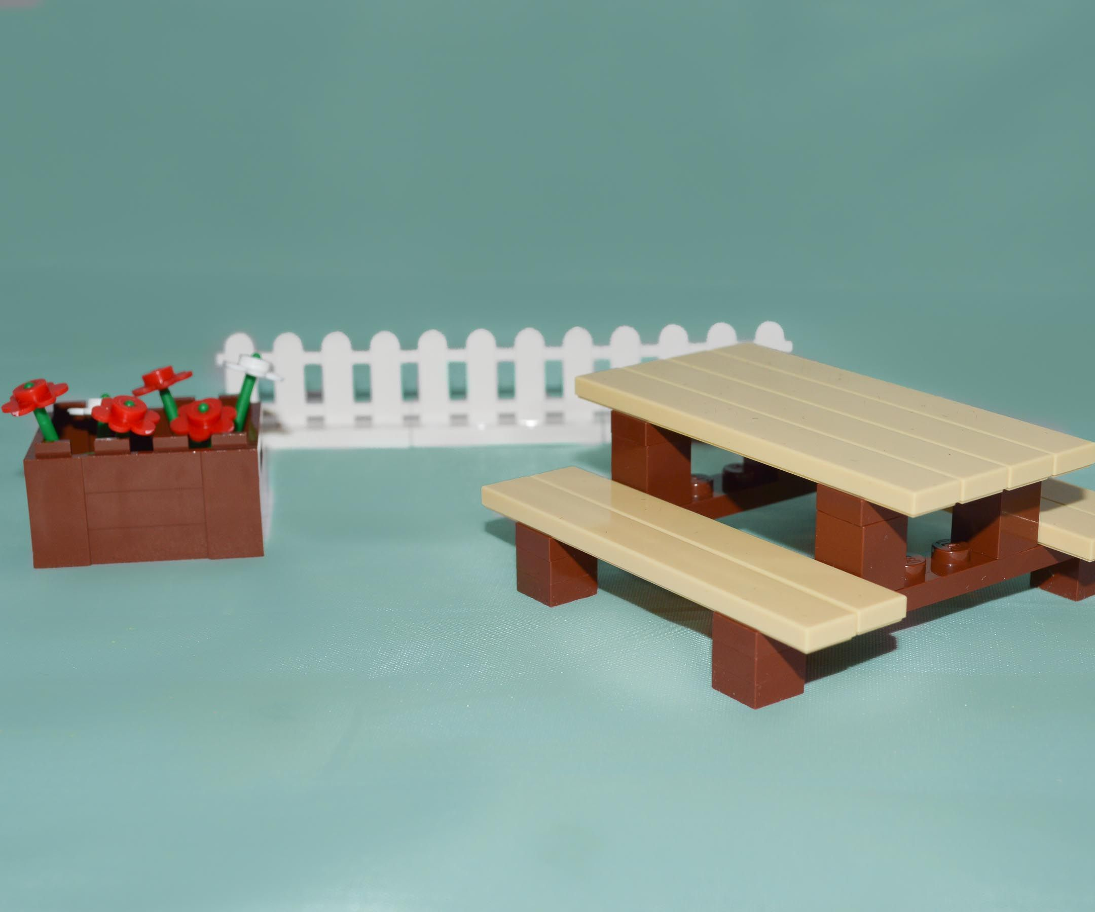 LEGO Furniture Picnic Table Set W Instructions Parts Minifig - Picnic table parts