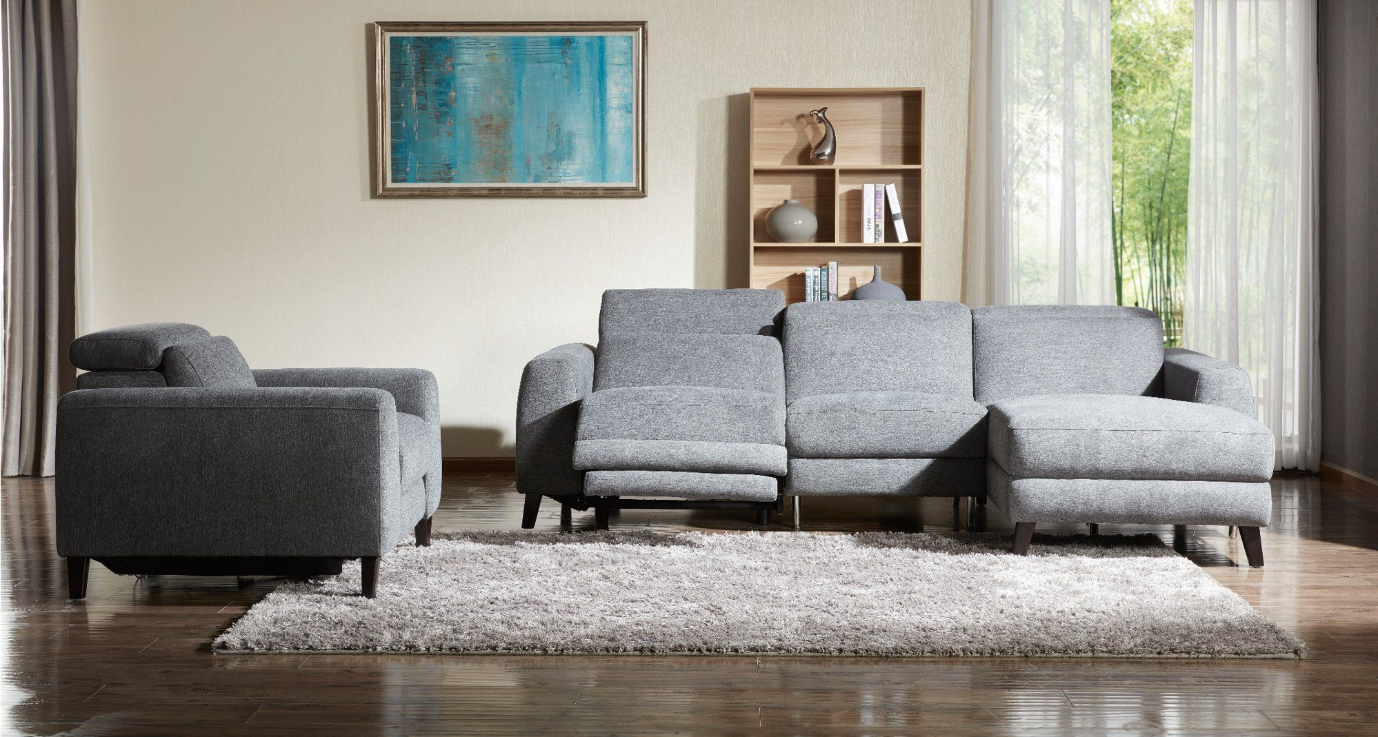 Charcoal gray transitional power reclining sofa with right chaise royals