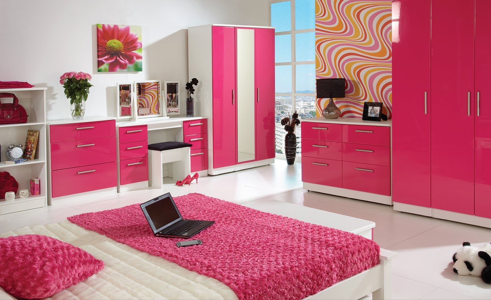 design ideas for modern white girls bedroom with pink color scheme