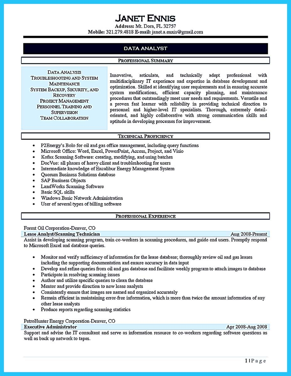 Cool High Quality Data Analyst Resume Sample From Professionals Check More At Http Snefci Org High Qual Data Analyst Job Resume Examples Job Resume Template