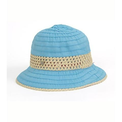 Blue Grosgrain & Ribbon Straw Cloche Hat