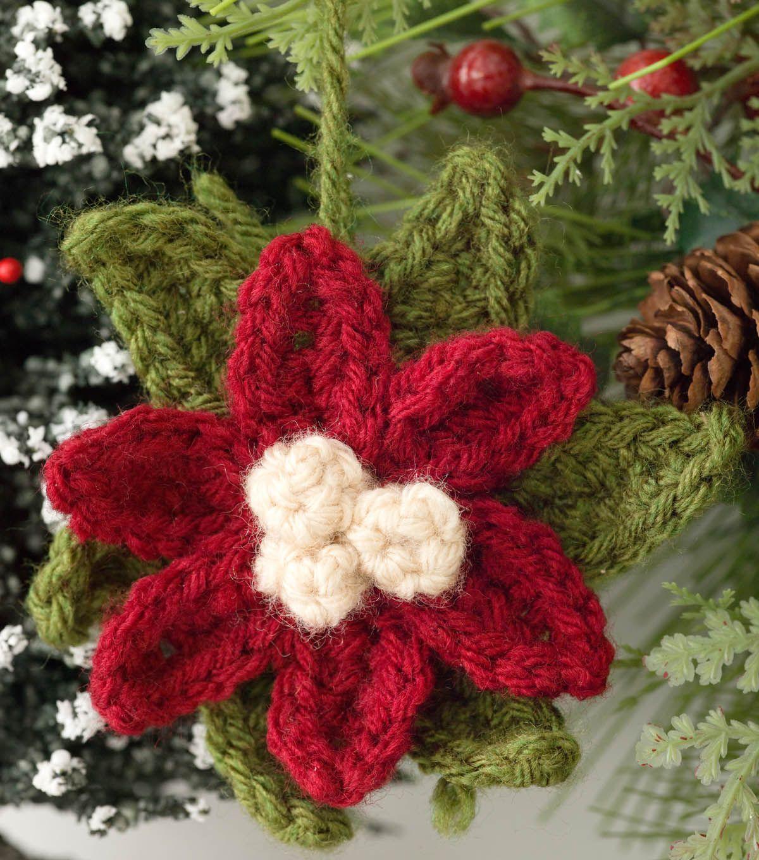 Poinsettia Ornament | Crochet Ornament Ideas from @joannstores ...