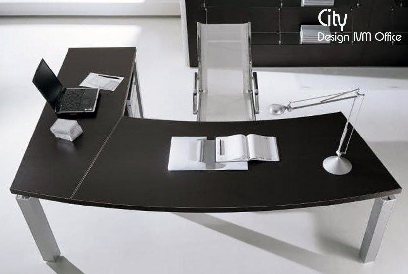 Bureau D Angle City Arc Wenge 206x100 200x60 Cm Design Ivm