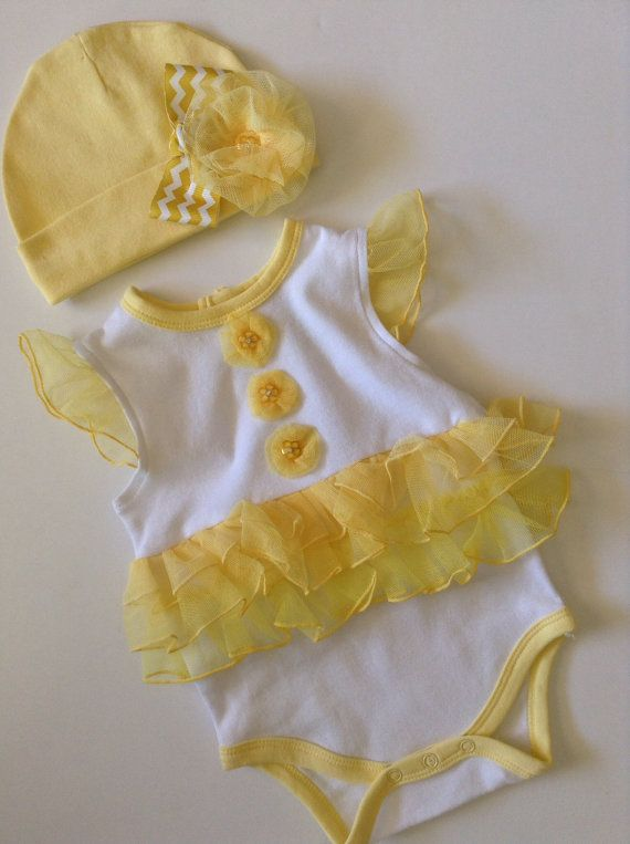 9abed9dd7 Newborn Baby girl take me home outfit yellow bodysuit spring summer ...