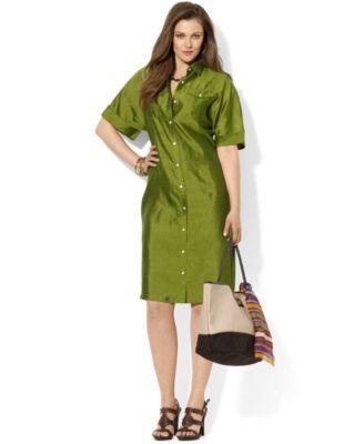 lauren ralph lauren plus size short-sleeve silk shirtdress