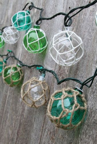 Photo of Vintage Glass-Style Buoy Float Electrig String Lights | Beach | Nautical Decorations