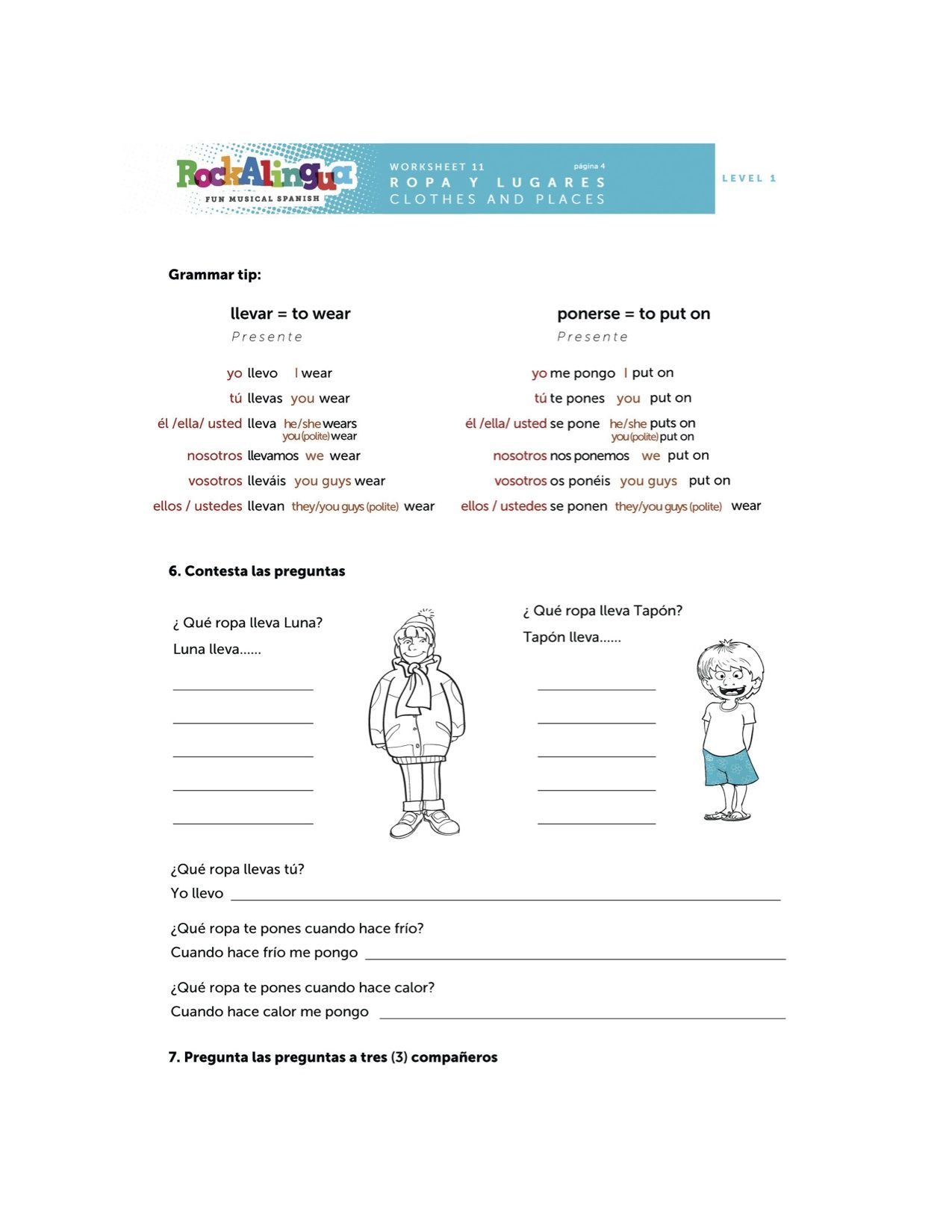worksheet Weather Expressions In Spanish Worksheets spanish worksheet about clothes places and weather more teaching resources at www rockalingua