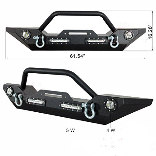 TJMOTO Black Textured Rock Crawler Jeep JK Front Bumper with LED Lights & D-Ring & Winch Mount Plate