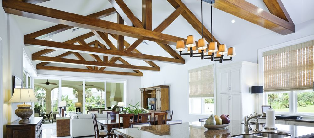 Exposed truss ceiling google search tree house for Vaulted ceiling with exposed trusses