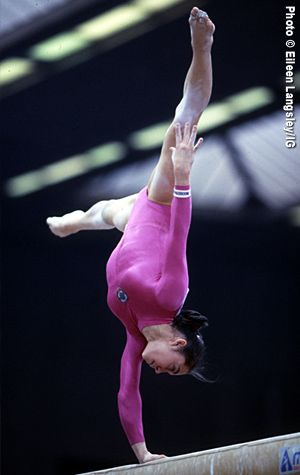 Olga Strazheva, gymnastics, gymnast, one-handed on the balance beam - very nice, very strong from Kythoni's Gymnastics: The Balance Beam board: http://pinterest.com/kythoni/gymnastics-the-balance-beam/ #KyFun