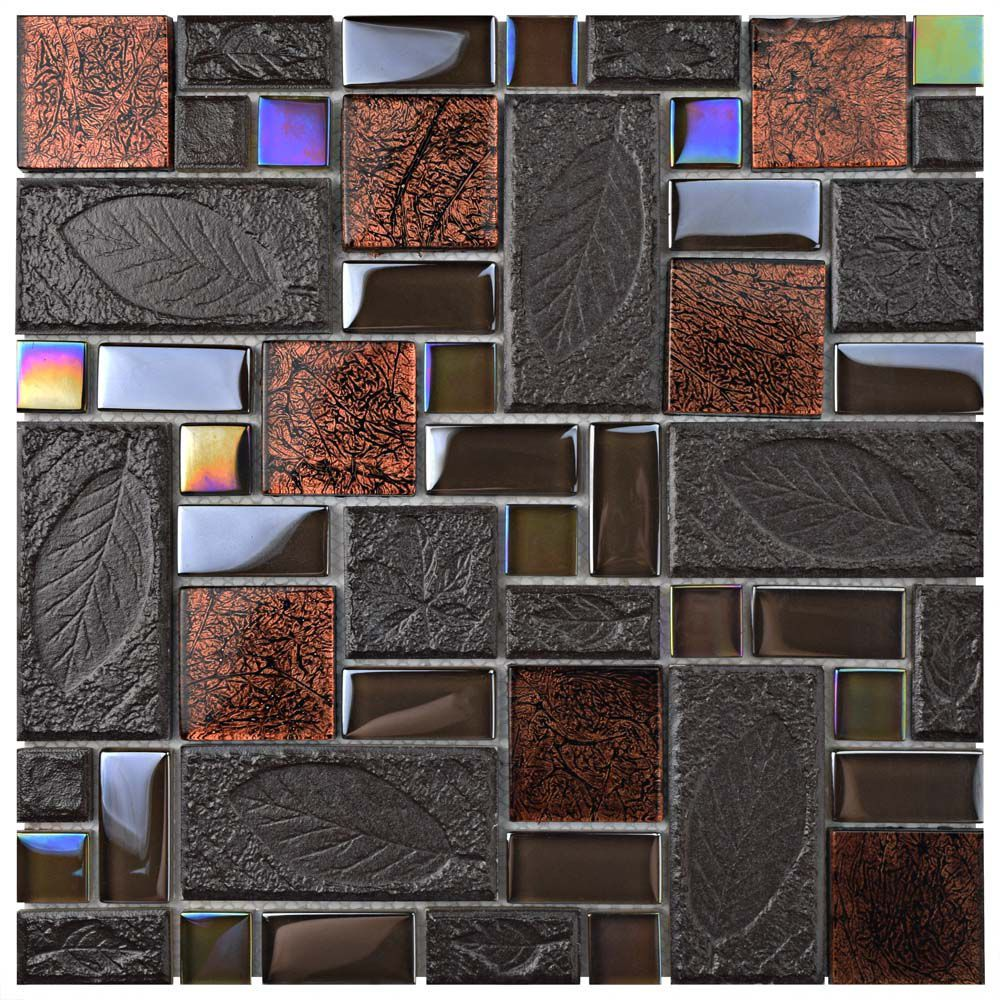 Garden Versailles Walnut 11 3 4 Inch X 11 3 4 Inch X 8 Mm Ceramic And Glass Mosaic Tile 9 79 Sf Ca Mosaic Glass Glass Mosaic Tiles Stone Mosaic Wall