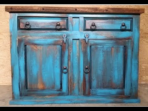 distressed turquoise kitchen cabinets diy vintage paint technique diy crafts 14861